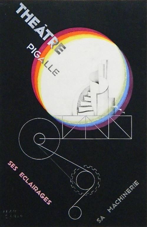 "335: JEAN CARLU POCHOIR POSTER ""THEATRE PIGALLE"""