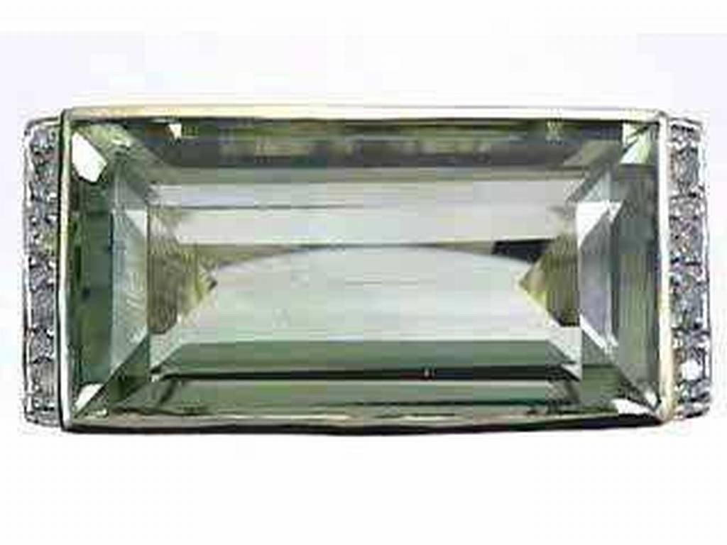 13: 10K GREEN AMETHYST & DIAMOND RING