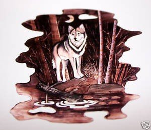 """33: """"THE WOLF""""  HAND CARVED WALL HANGING"""