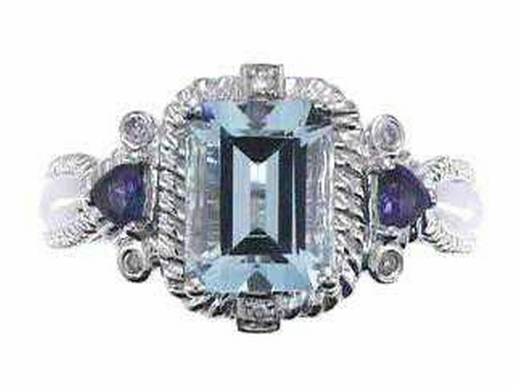 14: 10K INDIAN BLUE SAPPHIRE RING