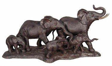 "26: ""ELEPHANT FAMILY"" BRONZE SCULPTURE"