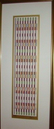 """1: AGAM HAND SIGNED """"GREEN VERTICAL ORCHESTRATION"""" GOLD"""