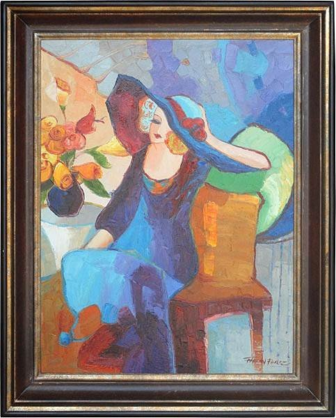 """10: """"LADY IN HAT"""" - ORIGINAL OIL ON CANVAS"""