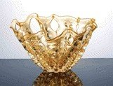 33: ART GLASS BOWL IN AMBER COLOR