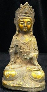 5: ANTIQUE BRASS SITTING BUDDHA - HAND CARVED
