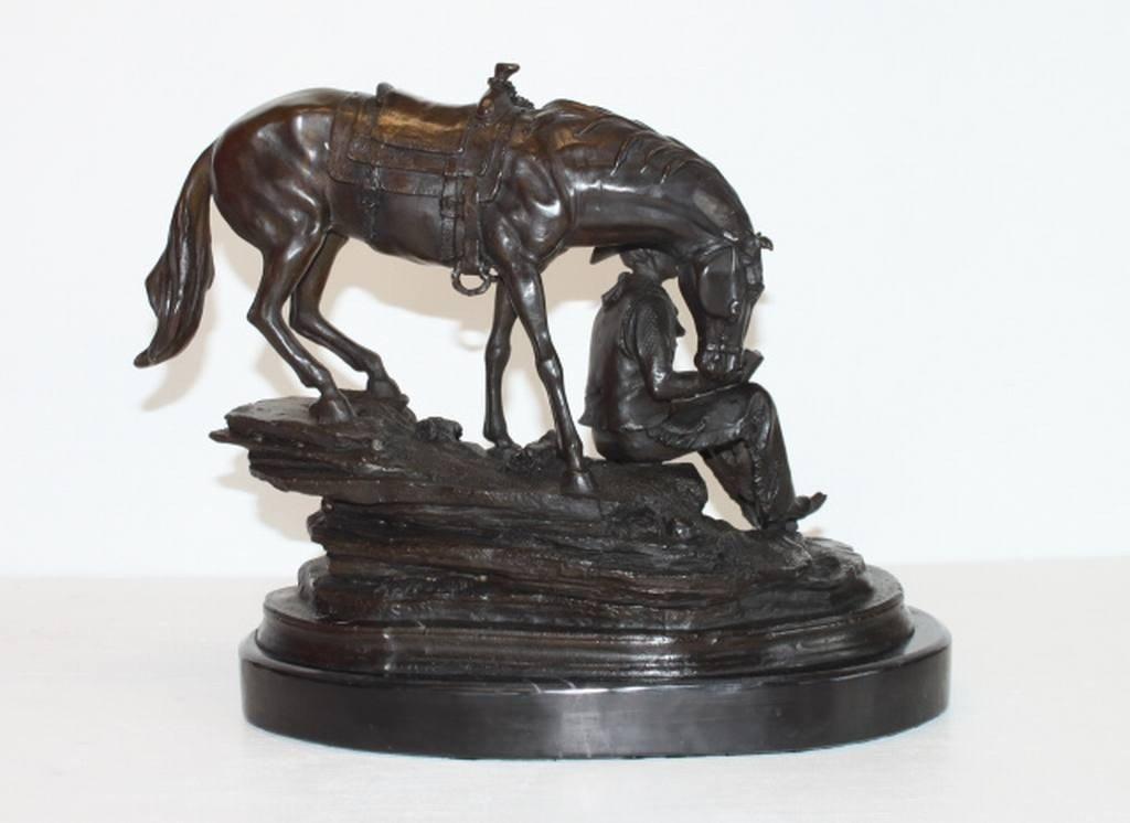 "21: ""BRONZE COWBOY & HORSE"" -  BARYE - BRONZE SCULPTURE"