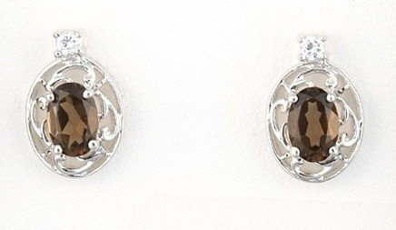 37: STERLING SILVER SMOKY TOPAZ OVAL FILIGREE EARRINGS