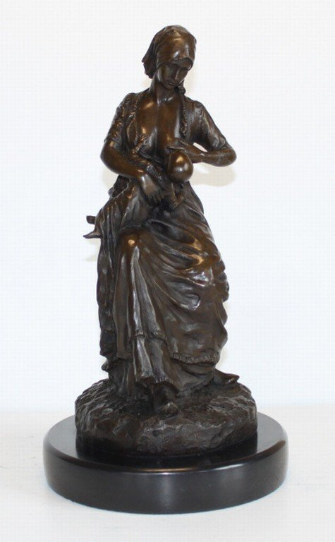 "43: ""NURSING MOTHER"" BRONZE SCULPTURE - PRIESS"