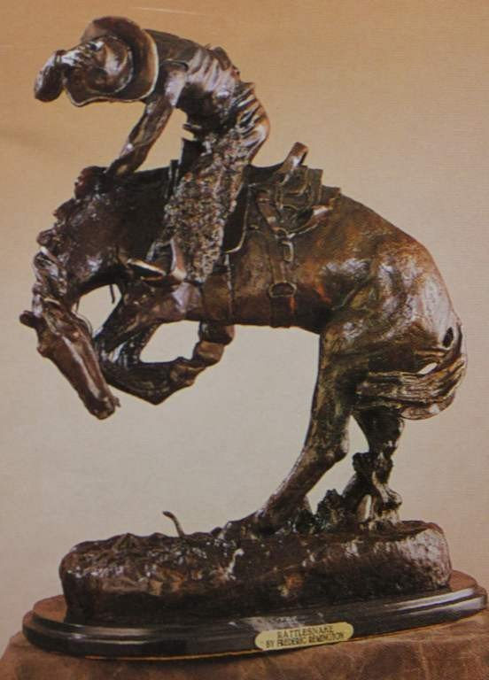 "8: ""RATTLESNAKE"" BRONZE SCULPTURE - REMINGTON"