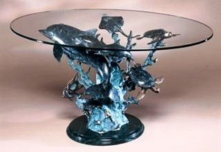 16: DOLPHIN SEALIFE BRONZE SCULPTURE COFFEE TABLE