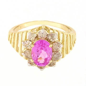 35: 2.0 CTW.  PINK SAPPHIRE & DIAMOND 10KY GOLD RING