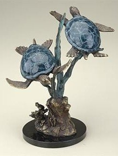 12: SEA TURTLES WITH SEAGRASS BRONZE SCULPTURE