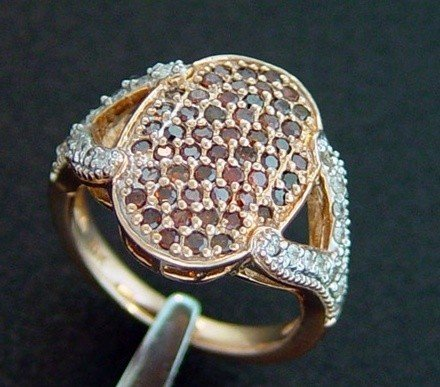 30: ROSE GOLD 1 CTW RED AND WHITE DIAMOND RING