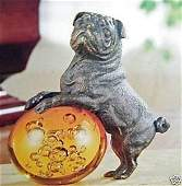 1172: BRONZE AND GLASS PUG PAPERWEIGHT