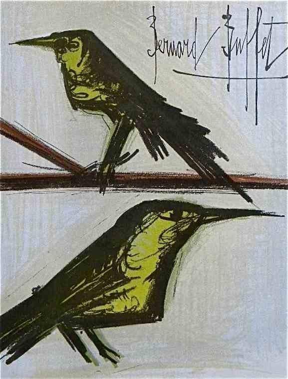 """39: BUFFET ORIGINAL LITHOGRAPH """"PAIR OF BIRDS"""""""