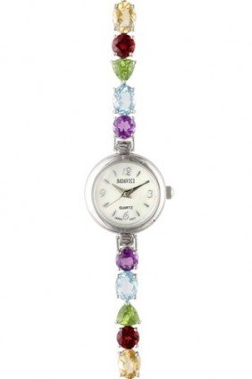 BADAVICI MULTI-GEMSTONE BRACELET WATCH