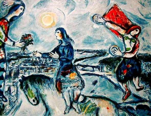"""7: MARC CHAGALL """"LOVERS OVER PARIS"""""""