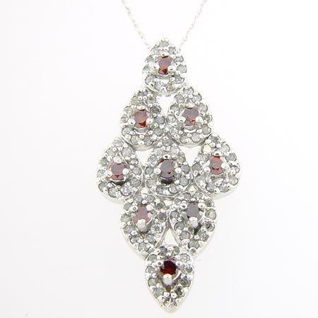 15: 1.0 CTW. RED & WHITE DIAMOND - 10KW GOLD - PENDANT