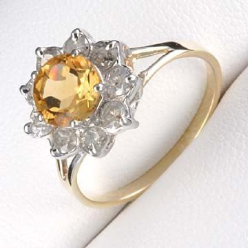 35: 2.0 CTW. CITRINE & DIAMOND RING IN 10KY GOLD