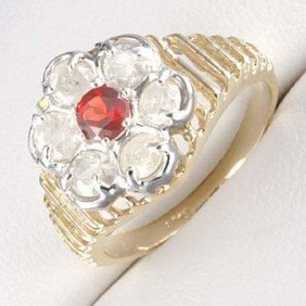 36: 1.0 CTW. DIAMOND &  RUBY RING IN 10 KY GOLD