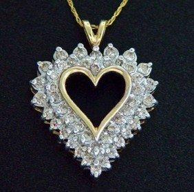 130: 1 CTW. DIAMOND HEART PENDANT 10KY