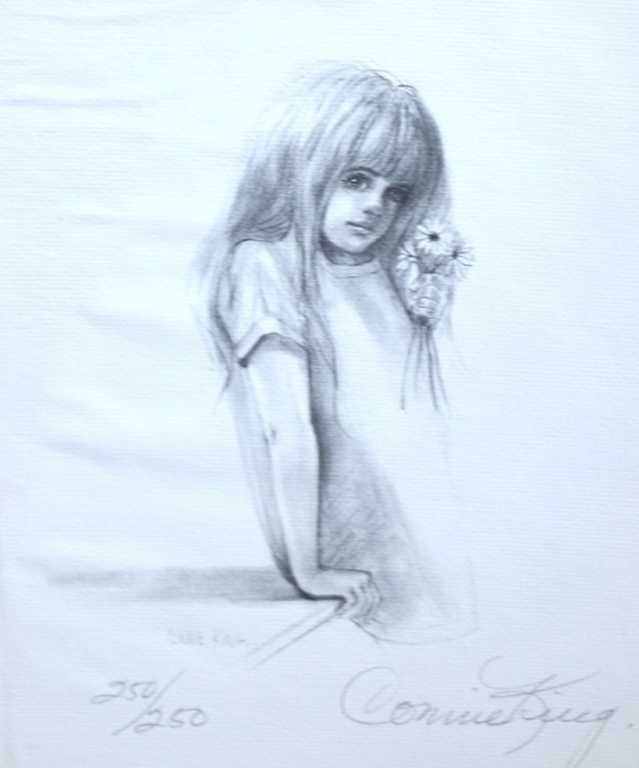 """34: CONNIE KING """"CHILD WITH FLOWER"""" - SIGNED LITHOGRAPH"""