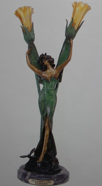 "100009: ""DRAGONFLY"" BRONZE SCULPTURE LAMP - BOSSIN"