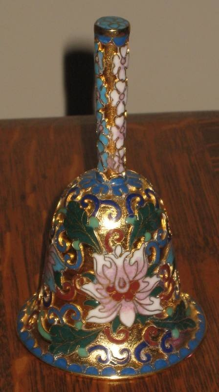 100015: CLOISONNE GILT BELL - VERY DETAILED