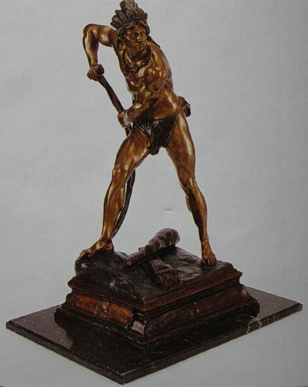 "100019: ""LAST OF THE MOHICANS"" BRONZE SCULPTURE - PLAZA"