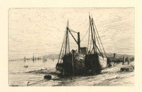 "HENRY FARRER ORIGINAL ETCHING ""ON NEW YORK BAY"""