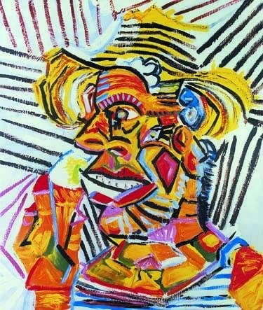 """300007: PICASSO """"MAN WITH STRAW HAT"""""""