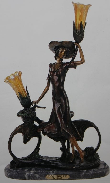 """300009: """"THE BICYCLE SPRING TIME"""" BRONZE SCULPTURE LAMP"""