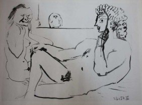 PICASSO - TWO FACES OF LOVE - GRAVEUR - 1954