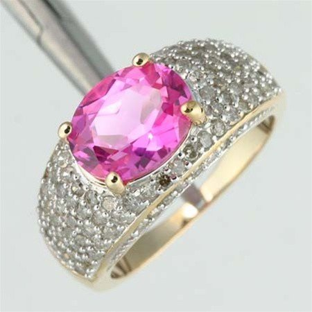 300025: 3.0 CTW. PINK SAPPHIRE & DIAMOND RING - 10KY GO