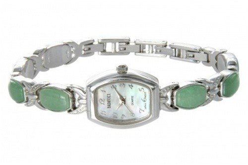 400010: BADAVICI GREEN JADE BRACELET WATCH