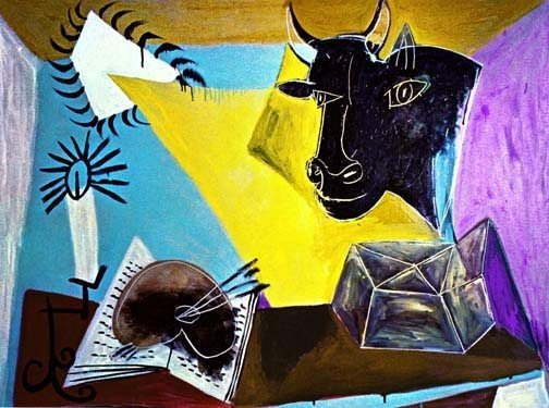 "400014: PICASSO ""STILL LIFE WITH CANDLE,PALETTE AND BLA"