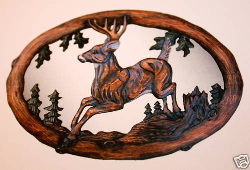 "400016: ""JUMPING DEER"" -  HAND CARVED WOOD MIRROR"
