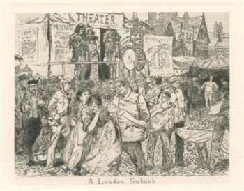 "400258: BLUM ""A London Suburb"" ORIG ETCHING"