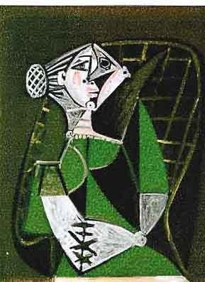 """500025: PICASSO """"WOMAN IN GREEN DRESS"""""""