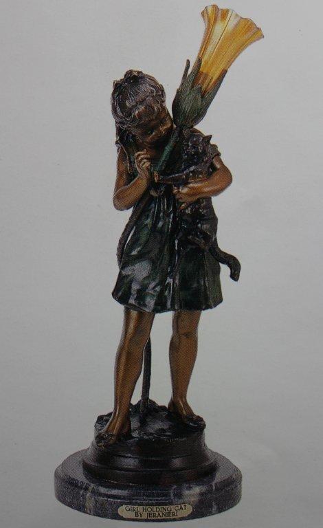 "600010: ""GIRL HOLDING CAT"" BRONZE SCULPTURE LAMP - JERA"