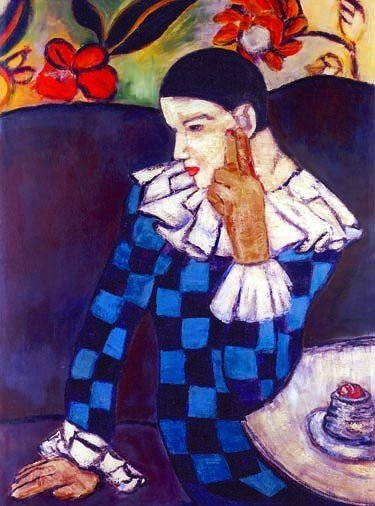 """600014: PICASSO """"HARLEQUIN LEANING ON HIS ELBOW"""""""