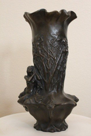 600021: ORNATE BRONZE VASE  WITH NUDE