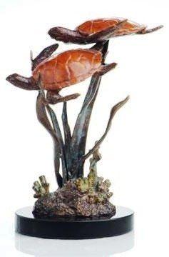 800014: DOUBLE TURTLE BRONZE SCULPTURE