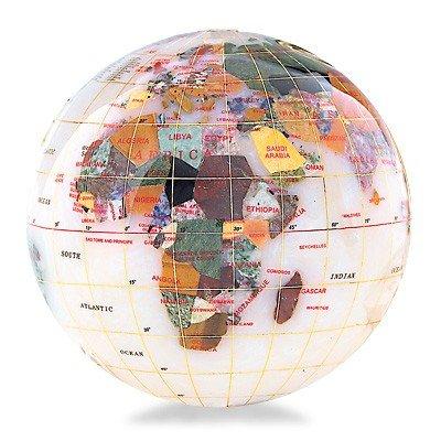 800036: KALIFANO GEMSTONE GLOBE PAPERWEIGHT