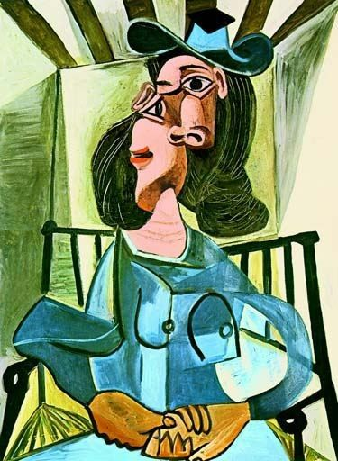 """PICASSO """"WOMAN WITH A HAT SEATED IN AN ARMCHAIR"""