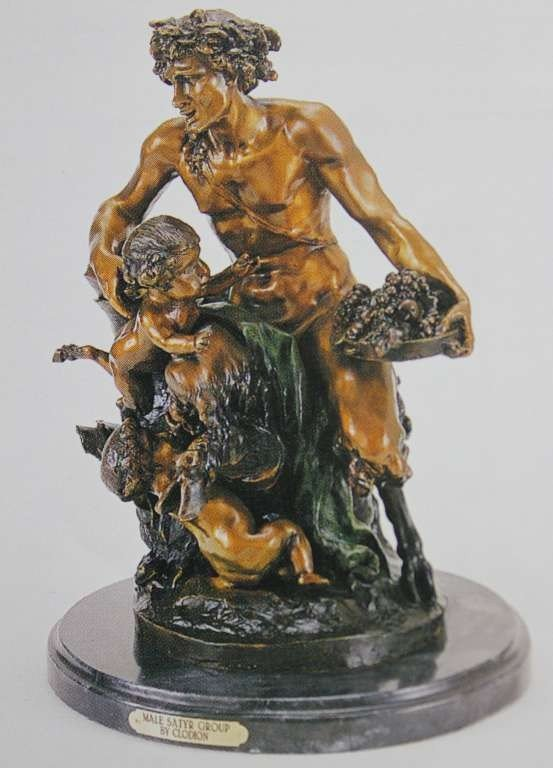 "100029: ""MALE SATYR GROUP"" BRONZE SCULPTURE - CLODION"
