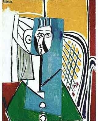 "100047: PICASSO ""WOMAN IN WHITE BUTTONED GREEN TOP"""