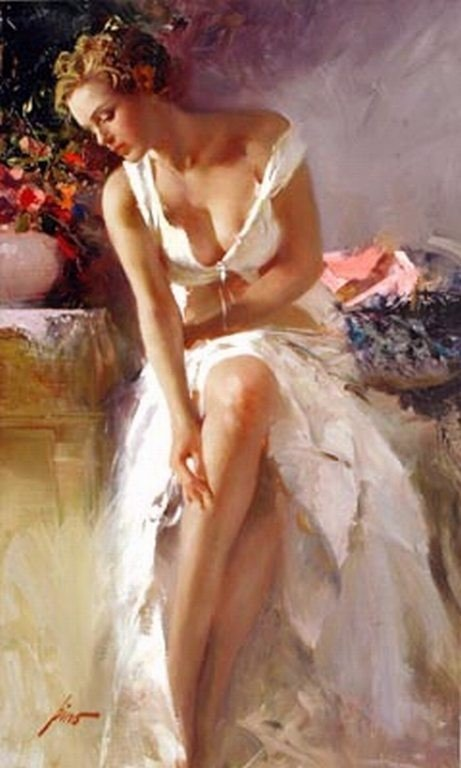 """100559: PINO HAND SIGNED GICLEE ON CANVAS """"ANGELICA"""""""