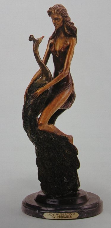 """200102: """"LADY WITH PEACOCK"""" BRONZE SCULPTURE - CHIPARUS"""