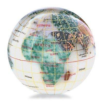 200124: KALIFANO GEMSTONE GLOBE PAPERWEIGHT
